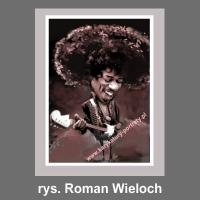 karykatura na płótnie Jimi Hendrix