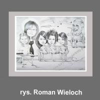 karykatura prezent dla rodziny rodzinny