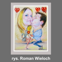 karykatura prezent na walentynki dzień zakochanych
